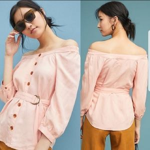 NWT Anthropologie off shoulder button down blouse